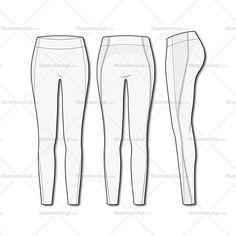 Women's Fashion Seamless Sport Legging Flat Template