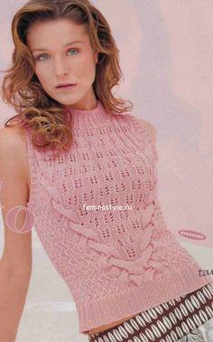 Розовый топ с косами,связанный спицами