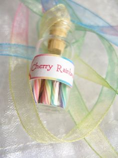 Pastel Rainbow Candy Jar Necklace -  Cherry Rainbow - Miniature Glass Bottle with Rainbow Organza Ribbon