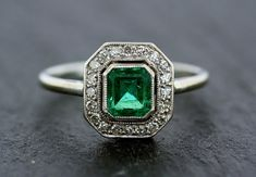 Art Deco Emerald Ring  Antique Emerald & by AlistirWoodTait, £2,685.00