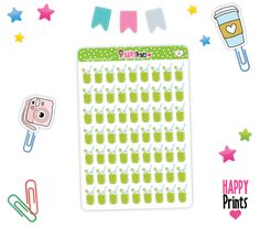 Green Juice Smoothie Planner Stickers, Planner Stickers, Erin Condren, Plum Paper, Limelife, Journals. by HappyPrints1 on Etsy