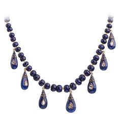 Necklace with lapidated sapphires and pendants with diamonds