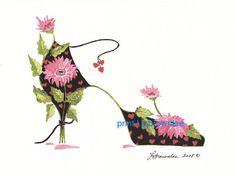 Shoe Print SHIPS FREE  Teen Puppy Love Flower by brownleeartstudio, $15.00