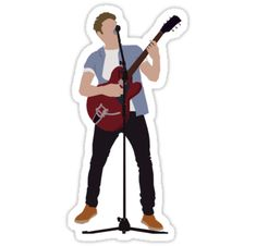 'Guitar Niall' Sticker by Deelara Homemade Stickers, Diy Stickers, Laptop Stickers, One Direction Drawings, One Direction Art, Harry Styles Dibujo, Desenhos One Direction, 5sos Pictures, 5sos Memes