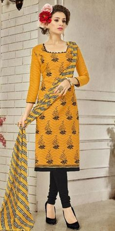 Suprising Yellow Cotton Straight Suit With Dupatta.