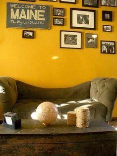 Yellow Living Room Interior Design Ideas Decorating Tips Decoration Mustard Living Rooms, Living Room Red, Living Room Interior, Living Room Decor, Room Paint Colors, Paint Colors For Living Room, Mustard Yellow Walls, Yellow Couch, Grey Yellow