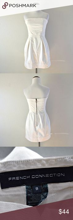 """French Connection White Strapless Dress White strapless dress by French Connection. Features pockets and exposed back zipper. In excellent condition!  