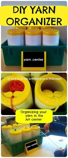 "Yarn organizer. Clean, empty ""wipes"" container or tennis ball canister works too. (Poke a hole in the lid and thread one end of yarn through hole.) Easy to store too!"
