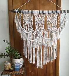 This is a darling macrame wall hanging! It is made with 6mm 100% cotton rope and a genuine beaver stick. The intricate and dainty design of this piece make it so beautiful. It will look perfect in any room of your home! -Natural cotton color. -Made with a genuine beaver stick &
