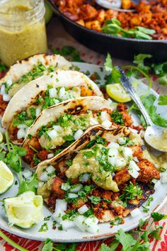 Chorizo and Potato Tacos with Avocado Salsa Verde Recipe : Tasty chorizo and crispy fried potato tacos with salsa verde, onions and cilantro! Healthy Taco Recipes, Healthy Tacos, Pork Recipes, Mexican Food Recipes, Dinner Recipes, Cooking Recipes, Potato Recipes, Dinner Ideas, Vegetarian Recipes
