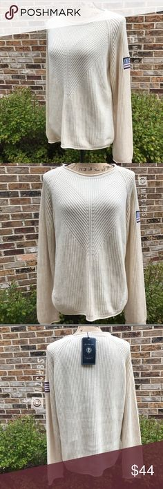 """Bondelid Ivory/Creme Crewneck Sweater NWT. Round neckline knitted cotton sweater with braided detail in front. This was a gift from someone who went to Sweden and I've never worn it. 1st 3 photos taken in natural light. Great item for a capsule wardrobe. Last photo shows company name embroidered an bottom of sweater. Pit to pit  approximately 20"""" laying flat. Cream/Ivory in color. 💰Reasonable offers considered. Photos may not be used without permission. Bondelid Sweaters Crew & Scoop Necks"""