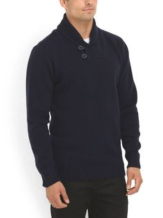The shawl collar and ribbed detailing add sophistication to this solid sweater.