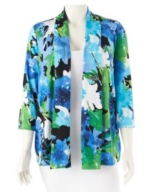 Woman's Plus Three Quarter Sleeve, Open Front Jacket in Colorful Abstract Print