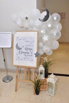 15 Unique Baby Shower Ideas - So Cool recuerdos de baby shower ideas that will blow your mind - Décoration Baby Shower, Baby Shower Signs, Baby Shower Parties, Baby Shower Balloons, Office Baby Showers, Star Baby Showers, Baby Boy Baptism, Baby Christening, Boy Baptism Party