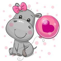 Cute Cartoon Drawings, Art Drawings For Kids, Disney Drawings, Easy Drawings, Animal Drawings, Cartoon Hippo, Cute Cartoon Animals, Cute Animals, Cute Hippo