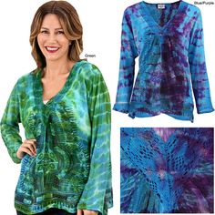 The spirit of freedom comes alive in every thread of our swinging tie-dyed top from India. Awash with rich color and a captivating silhouette, it delights the senses with beautiful crocheted accents at the collar.