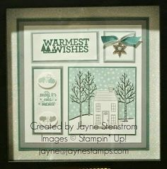 ~ ~ ~ Jayne Stamps ~ ~ ~: Winter Wishes Frame Class - Diy bilderrahmen Christmas Shadow Boxes, Christmas Frames, Stampin Up Christmas, Christmas Collage, Christmas Scrapbook, Christmas Items, Christmas Pictures, White Christmas, Box Frame Art