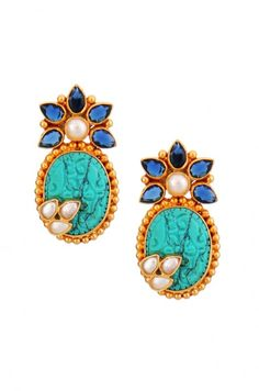 Silver Carved Turquoise Floral Earrings