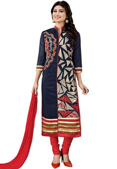 "#Beautiful #Blue #Pure #Cambric #Chuddidar #Kameez with Dupatta Blue Pure Cambric kameez designed with Zari,Resham Embroidery. Available with Red Pure Cotton Bottom with matching Pure Najneen Dupatta. This Semi Stitch kameez can be customized upto 44"""" inches.  INR:-1,326.00 only #With #Exciting #Offer Shop Now At http://tinyurl.com/zmarkas"