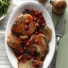 Slow-Cooked Cherry Pork Chops Recipe -I mixed and matched several recipes to come up with this one. I'm always happy to adapt recipes for my slow cooker. It's so easy to prepare a meal that way. —Mildred Sherrer, Bay City , Texas