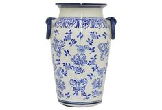 "14"" Ceramic Urn, Blue/White"