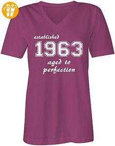 Established 1963 aged to perfection ★ V-Neck T-Shirt Frauen-Damen ★ hochwertig bedruckt - Größe M (*Partner-Link)