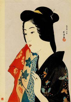 Hashiguchi Goyo - Woman Holding a Towel (Tenugui moteru onna)   From a unique collection of Fine Art at http://www.1stdibs.com/art/