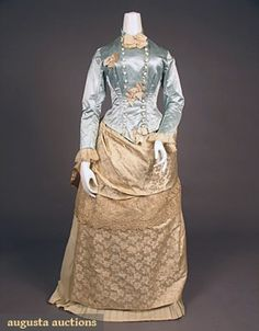 Blue and ivory silk bustle dress, 1880s