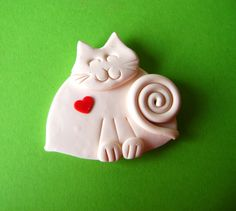 Polymer Clay White Cat with Red Heart Brooch or by Coloraudia, $10.00