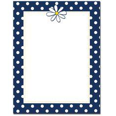 Summer - Navy Dots & Daisy Letterhead
