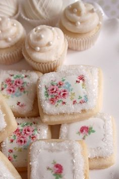 Elegant rose tea cookies with gorgeous decadent cupcakes on the side