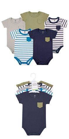 Hudson Baby Baby Infant Cotton Bodysuits, Blue and Olive 5 Pack, 3-6 Months