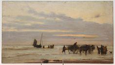 Victor Forssell (1846-1931): Kustlandskap med båt och fiskare