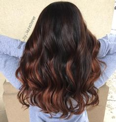 Dark hair balayage  copper hair
