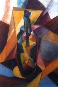 """Enrico Prampolini: """"Scomposizione dinamica di bottiglia"""", 1915 ca., Olio su Tela (oil on canvas), 62,5x41,5 cm."""