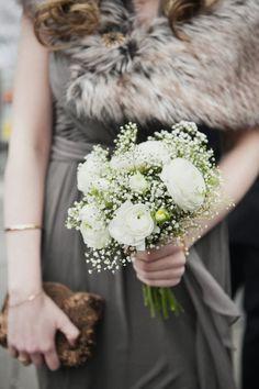 #winterwedding bridesmaid idea - photo by Christina Szczupak - http://ruffledblog.com/cozy-brooklyn-winter-wedding/