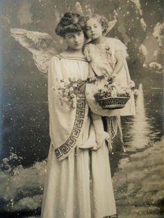 Antique angel postcard  Woman little girl big by LizKnijnenburg