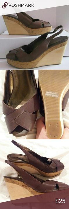 """LOFT Leather Peep-Toe Wedge Heels ...Gorgeous! *Size 8.5 True-to-Size *Beautiful 4"""" Heel *Worn Only Once... in Nearly-New Condition  *Original Box Not Included LOFT Shoes Wedges"""