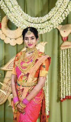 Bridal Sarees South Indian, Bridal Silk Saree, Indian Bridal Fashion, South Indian Bride, Saree Wedding, Girls Dresses Sewing, Baby Girl Dresses, Indian Bridal Hairstyles, Gold Wedding Jewelry
