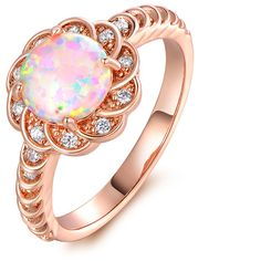 Fire Opal and Cubic Zirconia Flower Ring in 18K Rose Gold5 ($22) ❤ liked on Polyvore featuring jewelry, rings, jewelry & watches, cz jewellery, flower jewellery, fire opal ring, flower ring and rose jewellery