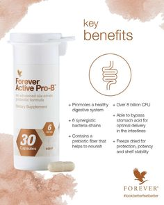 Forever Active Pro-B™ promotes healthy digestion, enhances nutrient absorption and supports immune function. This supplement is designed to deliver active, healthy and beneficial bacteria to your digestive system. Forever Living Company, Forever Living Business, Forever Aloe Lips, Forever Living Aloe Vera, Best Probiotic, Stomach Acid, Forever Living Products, Sauerkraut, Wrapping