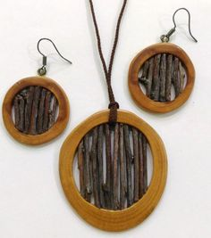 Wooden Earrings and Pendant
