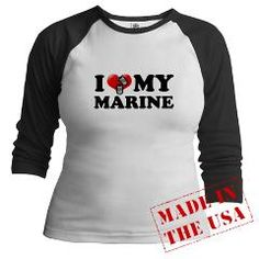 I (heart) My Marine Jr. Raglan T-shirt #military #patriotic #usa #army #navy #usmc #marines #usaf #airforce #gifts #apparel #custom #personalized #usn #soldier #sailor #airman #semperfi