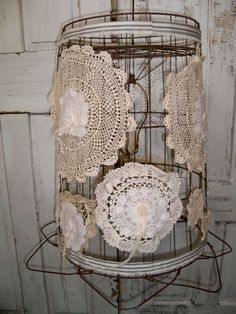 Large ceiling fixture re-purposed wire basket hanging lamp shabby chic recycled lighting  Anita Spero. $175.00, via Etsy.