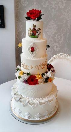 Elegant handpainted wedding cake with sugar flowers & royal icing Cupcake Cookies, Cupcakes, Sugar Flowers, Homemade Cakes, Royal Icing, Cake Decorating, Wedding Cakes, Hand Painted, Decorated Cakes