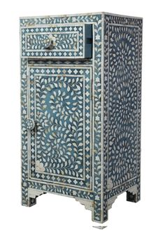 Mid Blue Mother of Pearl Bedside Cupboard
