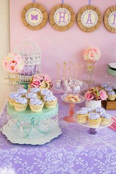 Lovely treats at a shabby chic butterfly birthday party! See more party planning ideas at CatchMyParty.com!