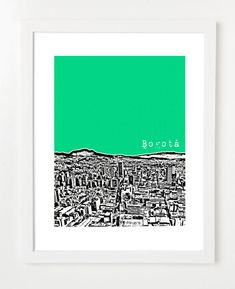 Bogota Colombia Art Poster - City Skyline Series Art Print - 8x10 - Andes Mountains