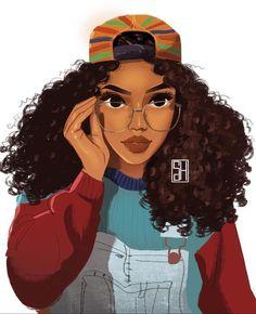 Risultati immagini per black girl drawing Black Girl Art, Black Women Art, Art Girl, Black Girl Cartoon, African American Art, African Art, Art Afro Au Naturel, Art Amour, Art Magique