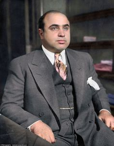 Famous faces from the past brought to life in colourised photos Real Gangster, Mafia Gangster, Gangster Style, Colorized History, Mafia Crime, Chicago Outfit, Cult Of Personality, Female Poets, Al Capone